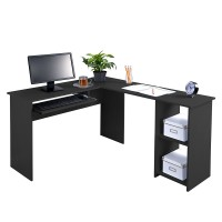 Roko Fineboard L-Shaped Office Corner Desk 2 Side Shelves, Black